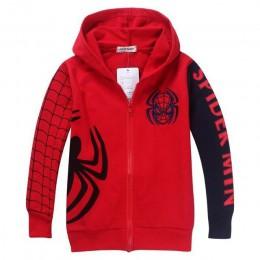 Detal w nowym stylu Spiderman ubrania 2017 wiosna jesień dzieci z kapturem chłopcy kurtki z kapturem kreskówka Spiderman płaszcz