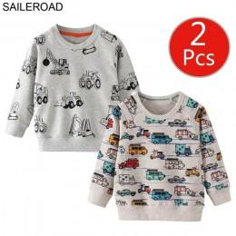 SAILEROAD 2 sztuk bluza dla dzieci Cartoon pojazd samochodowy ciepła bluza z kapturem dla dzieci T shirty z długim rękawem jesie