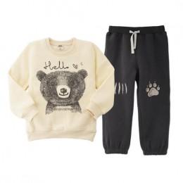 2019 moda niedźwiedź odzież zestawy dla dzieci ubrania, 3-6Y bluzy T-shirt dla chłopców ubrania Apring jesień casual odzież dzie