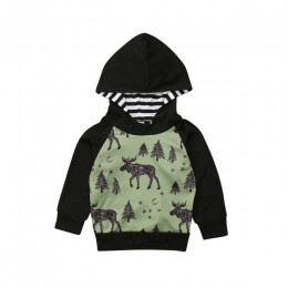 2020 maluch Boys Baby jesień zima bluza z kapturem chłopcy z długim rękawem Elk Forest bluzy z kapturem z nadrukami topy Casual