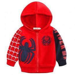 Jesień Spiderman chłopcy bluzy dzieci bluza dla chłopca Cartoon Spider-man dziecko kurtka z zamkiem dzieci z długim rękawem płas