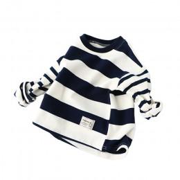 Chłopcy bluzy z kapturem wiosenne dzieci bawełna z długim rękawem bluza w paski luźny pulower dzieci chłopiec odzież moda O-Neck