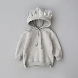 Nowe chłopięce dziewczęce jesienne swetry śliczne Hoded ubrania koreańskiej wersji ciepłe Plus aksamitna bluza dziecięca odzież