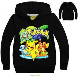 Nowe Pikachu chłopcy dziewczęta bluzy dziecięce kreskówki pokemon go nadruk bluzy moda dziecięca z długim rękawem kostium 3-10Y