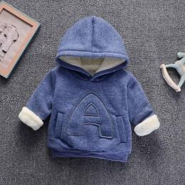 Zimowe dzieci Plus aksamitne bluzy bluzy gruba modna bawełniana chłopięca dziewczyna ciepły płaszcz kaszmirowy ubrania jednokolo