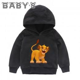 Dzieci z kapturem bluzy z kapturem dla dzieci dzieci kreskówki król lew śmieszne Simba bluzy dziecięce pulowerowe topy berbeć dz