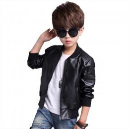 Nowa dostawa chłopięce płaszcze jesienno-zimowa moda koreańska dziecięca Plus aksamitna ocieplana bawełniana kurtka ze skóry szt