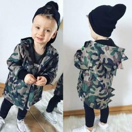 Dorywczo maluch Kid Baby Boy kurtka do kamuflażu dinozaur płaszcz z suwakiem Top odzież z kapturem
