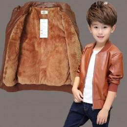 Marka moda zima dziecko płaszcz wodoodporne dziewczynek chłopców kurtki skórzane ciepła dziecięca odzież wierzchnia dzieci stroj