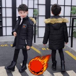 2019 nowa zimowa kurtka dla dzieci dla chłopców Teenage Fur kurtka z kapturem Parka grubsza bawełna-30 rosja płaszcz odzież dla