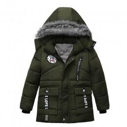 Chłopcy odzież kurtka zimowa dziewczyna płaszcz fajne słodkie z kapturem kolorowe futro kołnierz ubrania dla dzieci grube kurtki