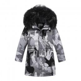 Zimowe dziecięce kurtki puchowe styl kamuflażu chłopiec dół płaszcze futro nastolatek dzieci parka dłuższa odzież wierzchnia-30