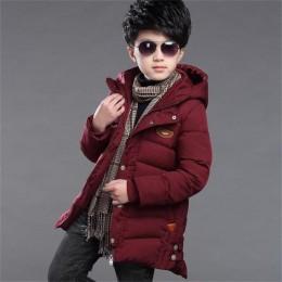 2019 zimowa kurtka dla dzieci i płaszcz dla chłopców nowości moda odzież z kapturem dla dzieci puchowe wyściełane bawełniane ubr