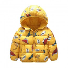Kamuflaż dzieci chłopcy kurtki zimowa jesień 2019 Cartoon dinozaur dziewczyny zimowe płaszcze dziecięca odzież wierzchnia Boys B