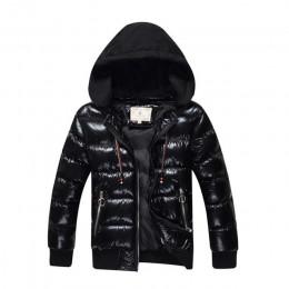 8-17 lat chłopcy płaszcz zimowy Parka watowana kurtka z bawełny chłopiec ciepła kurtka z kapturem 2018 nowych moda brązujący zag