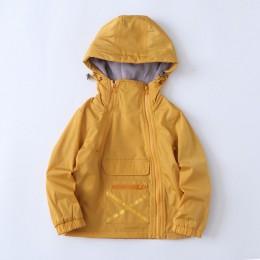 Wiatroszczelna moda z kapturem bawełna płaszcz dziecięcy chłopcy kurtki dziecięca odzież wierzchnia zamek duża kieszeń na wysoko