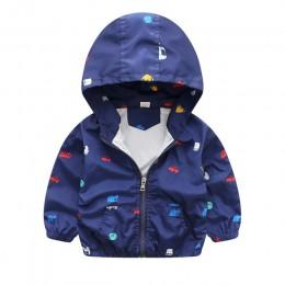 Nowe letnie i jesienne kurtki dla dzieci dorywczo z kapturem dziecięca odzież wierzchnia/płaszcze 1-7T niebieskie i białe kurtki