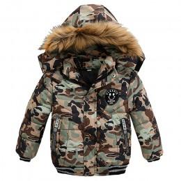 Zimowe chłopięce ciepłe kurtki moda 1-5 lat chłopcy płaszcz Casual jesień gruby kaptur odzież wierzchnia płaszcz na odzież chłop