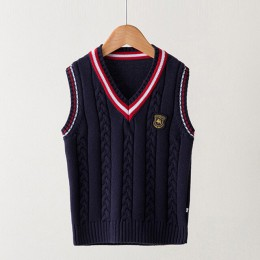 Wiosna jesień 100% bawełniany sweter teen boy's sweter w szpic kamizelka dzieci kamizelka szkoły dziewczyny zimowe swetry na 4-1
