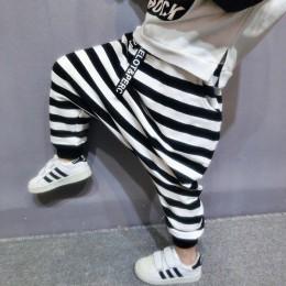 2-6 lat Boys Baby Harem spodnie w stylu koreańskim czarno-biały pasek dzieci zimowe ciepłe aksamitna wyściółka spodnie KF970