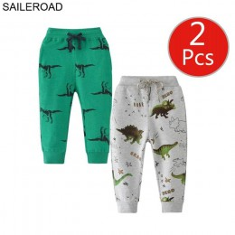 SAILEROAD 2 sztuk Cartoon przytul mnie dinozaur spodnie dla dzieci chłopcy jesień ubrania dla dzieci 7 lat spodnie dresowe dla d