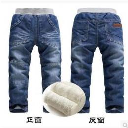 Chłopcy dziecko dżinsy 3 4 zimowe długie spodnie 5 plus aksamitne pogrubienie 6 termiczne spodnie bawełniane 7 8 chłopiec talia