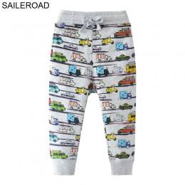 SAILEROAD 2-7Years Cartoon wzór samochodu chłopcy spodnie pełnej długości wiosna jesień dziecko dzieci dorywczo spodnie bawełnia