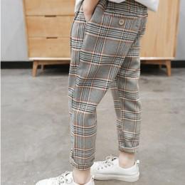 Chłopięce spodnie typu casual 2019 wiosna nowe spodnie w kratę dzieci luźna na wiosnę i jesień dziecięce spodnie pojedyncze odzi