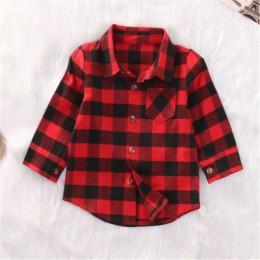 Moda dla dzieci dla dzieci chłopcy dziewczęta koszule z długim rękawem czerwone pledy w kratkę koszula topy modne ubrania dla dz