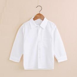 Zwykły biały chłopięce koszule dziecięce ubrania klasyczna koszula dla chłopca Top dziecięce koszulki bawełniana dziewczyna Jump