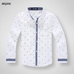 Nowe markowe koszule dziecięce drukowanie wzór kotwicy bawełna 100% z długim rękawem chłopięce koszule nadające się do 3-12 lat