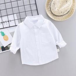 2020 dzieci solidny biały chłopcy/dziewczęta koszule dziecięce topy chłopcy/dziewczęta z długim rękawem odzież ślubna dla dzieci