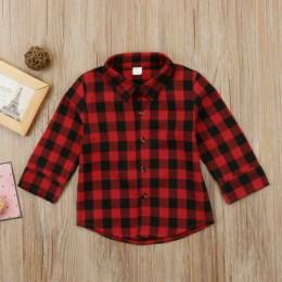 Toddler Kids Baby Boy Girl czerwona koszula w kratę koszula zapinana na guziki koszula z długim rękawem myślę, że kopnę ją dzisi