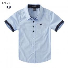 Promocja gorąca sprzedaż koszule dziecięce Casual trwała bawełna z krótkim rękawem chłopięce koszule na 4-12 lat ubrania studenc