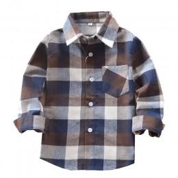 Promocja gorąca sprzedaż chłopców koszule klasyczne Casual Plaid flanelowe koszule dziecięce dla 3-11 lat dzieci chłopiec nosić