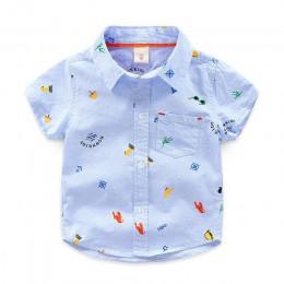 LCJMMO letnia koszulka chłopięca nadruk kreskówkowy koszule dziecięce moda miękka bawełniana koszulka z krótkim rękawem dla dzie