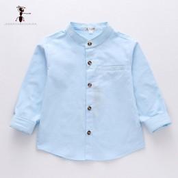 Kung Fu Ant 2019 wiosna o-kołnierz jednolity kolor Casual 100% bawełna chłopcy koszula pełna rękaw 24M School Baby Boy Shirt