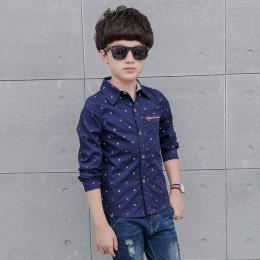 Bawełniane klasyczne koszule z długim rękawem z kołnierzykiem na guziki młodzieżowe dla chłopca modne