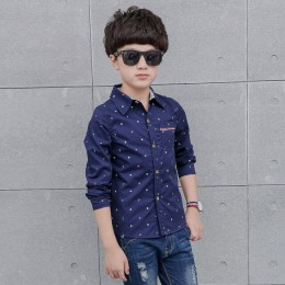 JXYSY Kids Boys koszule 2019 jesień z długim rękawem stałe maluch koszule chłopięce modna bawełniana marka topy dla małego chłop