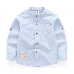 Baby Boy Collar Shirt brytyjskie dzieci trwała bawełna topy nowa bluzka szkolna z długim rękawem ubrania dla dzieci białe koszul