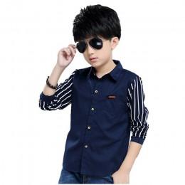 Koszule chłopięce marki wiosna jesień koszule dziecięce bawełna Casual odzież dziecięca chłopcy nastoletnie sportowe szkolne kos