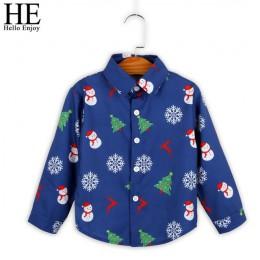 HE Hello Enjoy Boys koszule jesienne ubrania świąteczne maluch dzieci z długim rękawem bluzka z niebieskim nadrukiem bluzka dla