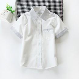 Promocja dziecięce chłopięce koszule Casual solidna skrócona kołnierzyk koszulki z krótkim rękawem dla 3-10 lat odzież dla dziec