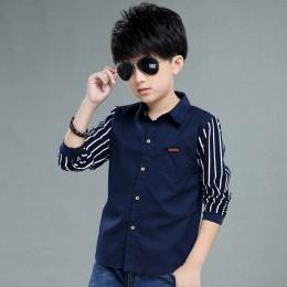 Odzież dziecięca chłopięca koszula z długim rękawem jesienna odzież dziecięca codzienna dziecięca koszula w paski 4-12 lat grana