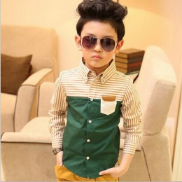 ActhInK nowa dziecięca sukienka w paski koszule chłopięce moda bawełniany patchwork odzież ślubna chłopcy formalne ubranie koszu