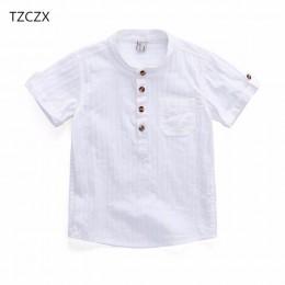 TZCZX-2320 nowy 2018 letni styl dzieci chłopcy koszula moda trwała bawełna krótka koszula dla 3-10 lat odzież dla dzieci ubrania
