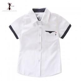Kung Fu Ant 2019 nowe letnie koszulki z krótkim rękawem jednokolorowe białe chłopięce studenci moda Oxford tekstylny bawełniany