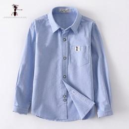 2019 oryginalny Design wiosna 100% bawełna chłopcy koszulki z krótkim rękawem niebieski biały koszula szkolna szkoła mundury 3 T