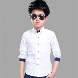 Koszule dla nastoletnich chłopców koszula szkolna dla chłopców koszula z kołnierzykiem dla chłopców białe dzieci ubrania dla nas