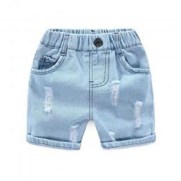 Nowe chłopięce letnie spodenki jeansowe dorywczo dzieci w pasie bawełniane krótkie dla chłopca dzieci spodnie plażowe maluch Bab